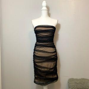 BCBGMaxAzria Ruched Mesh Strapless Dress